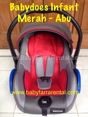 BABYDOES Infant Car Seat Merah-Abu